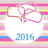 Färgrikt hälsningkort för lyckligt nytt år 2016 Symbol av 2014 Partiaffisch, hälsningkort Royaltyfri Bild