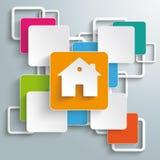 Färgrikt hus PiAd för rektangelfyrkantkors Arkivbilder