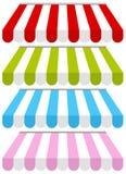 Färgrikt shoppa fastställda markiser Royaltyfri Bild