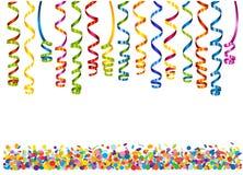 Färgrikt slingrande med konfettier Arkivfoto