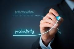 Förhalning vs produktivitet Arkivfoto