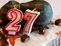 Frhestnut e bolo de aniversário da abóbora Fotografia de Stock Royalty Free