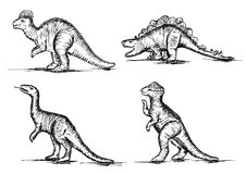 Förhistoriska Jurassic dinosauriereptilar skissar vektorn Royaltyfri Foto