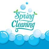 Frühjahrsputz-Buchstabe-Verzierung und Schaum-Hintergrund Stockbilder