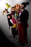 Fröhliche Thespians im Kostüm Lizenzfreies Stockfoto
