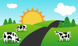 Frühling oder Sommerperiode-Landschaft mit Kühen. Lizenzfreie Stockfotos