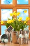Frühlings-Ostern-Fenster Stockfotografie