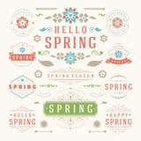Frühlings-typografischer Design-Satz Retro- und Weinlese-Art-Schablonen Stockfotos