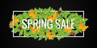 Frühlings-Verkaufs-Fahnen-Design-Grenzhintergrund Lizenzfreie Stockfotos
