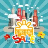 Frühlings-Verkaufs-Vektor-Illustration mit Stadt Stockfotografie