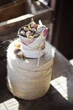 Frühlingsblumenzwiebeln im keramischen Topf eingewickelt im Gewebe auf Schnur Lizenzfreies Stockbild