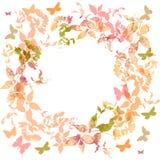 Frühlingshintergrund, bunte Schmetterlinge eingestellter Kranz Stockbild
