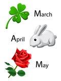 Frühlingskalender - Marsch, April, kann Lizenzfreie Stockfotografie