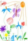 Frühlingslandschaft mit Schmetterling und Blumen Zeichnung eines Vaters und des Sohns Stockfoto