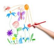 Frühlingslandschaft mit Schmetterling und Blumen Zeichnung eines Vaters und des Sohns Stockfotografie