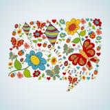 Frühlingssozialmedienschwätzchen-Blasengespräch Stockbild