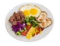 Frühstück in einer Platte Stockfotos