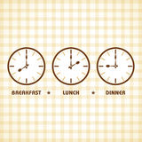 Frühstücks-Mittagessen- und Abendessenzeit Stockfotos