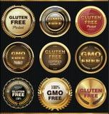 Fri etikettsamling för Gmo och för gluten Arkivfoto