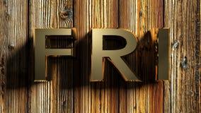 FRI-het messing schrijft op ruw hout - het 3D teruggeven Royalty-vrije Stock Foto's