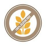Fri klistermärke 100% för gluten för mat Brun och gul vektoretikett Royaltyfri Bild