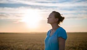 Fri lycklig kvinna som tycker om den utomhus- naturen och frihet Kvinna med armar som är utsträckta i ett vetefält i solnedgång Royaltyfri Fotografi