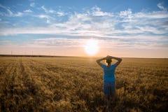 Fri lycklig kvinna som tycker om den utomhus- naturen och frihet Kvinna med armar som är utsträckta i ett vetefält i solnedgång Arkivfoto