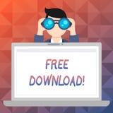 Fri nedladdning för ordhandstiltext Affärsidé för mappar som nedladdar utan någon laddningsonline-teknologi royaltyfri illustrationer
