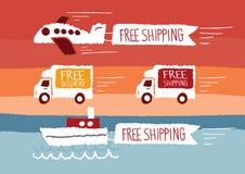 Fri sändnings och fri leverans Vektor Illustrationer