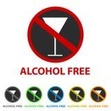 Fri symbol för alkohol - olika färger royaltyfri illustrationer
