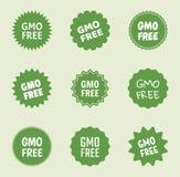 Fri symbolsuppsättning för Gmo, naturlig mat utan gmo-etikett stock illustrationer