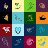 Fri vektorfågellogo mega packe stock illustrationer