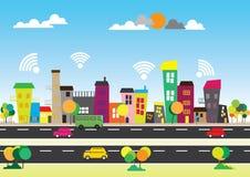 Fri wifi i staden Arkivfoto