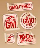 fria gmo-etiketter Arkivfoto