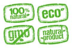 fria gmo-stämplar för ekologi stock illustrationer
