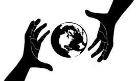 Fria händer med räddning världen Fotografering för Bildbyråer