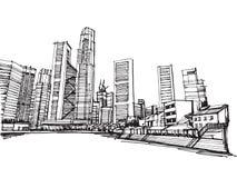 Fria händerteckningen skissar den panorama- singapore för vektorn staden royaltyfri illustrationer