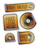 fria lagliga musikpackeetiketter Arkivfoto