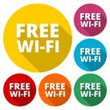 Fria symboler för färgrik wifi för affär eller kommersiellt bruk royaltyfri illustrationer