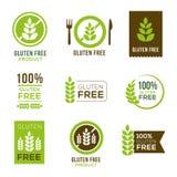 Fria symboler för gluten - emblem Arkivbilder