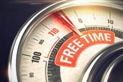 Fria Tid - meddelande på den begreppsmässiga visartavlan med den röda visaren 3d Fotografering för Bildbyråer