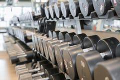 Fria vikter för hantel på idrottshallen Royaltyfria Foton