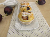 Friands with plums Royalty Free Stock Photography