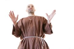Friar franciscan. In white background Stock Photography