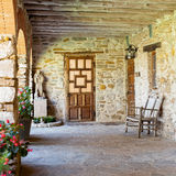 The Friar House. The entrance to the living residence of the Friar Priest at the Mission in Texas Stock Photo