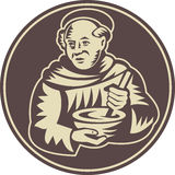 Friar Monk Cook Mixing Bowl Woodcut. Illustration of a friar monk cook with mixing bowl done in retro woodcut style royalty free illustration