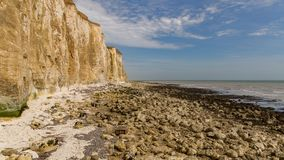 Friars Bay, East Sussex, UK. Chalk cliffs and coastline at Friars Bay in Peacehaven, near Brighton, East Sussex, England, UK stock photos