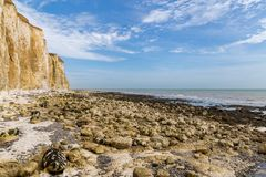 Friars Bay, East Sussex, UK. Chalk cliffs and coastline at Friars Bay, Peacehaven, near Brighton, East Sussex, England, UK stock photos