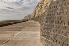 Friars Bay, East Sussex, UK. Chalk cliffs and coastline at Friars Bay in Peacehaven, near Brighton, East Sussex, England, UK royalty free stock image