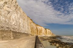 Friars Bay, East Sussex, UK. Chalk cliffs and coastline at Friars Bay in Peacehaven, near Brighton, East Sussex, England, UK stock photo